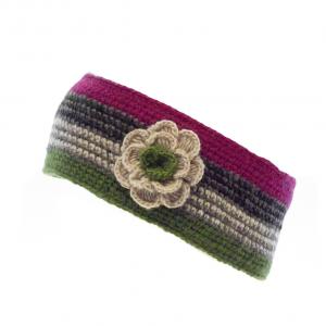 Crochet Headband with Flower Corsage Pink Green
