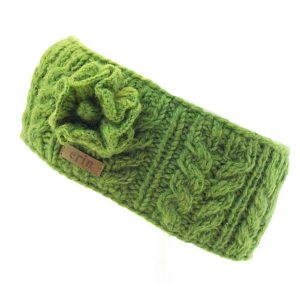 Aran Cable Knitted Wool Headband with Flower Dark Green
