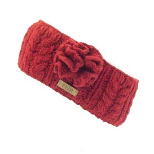 Aran Cable Knitted Wool Headband with Flower Red
