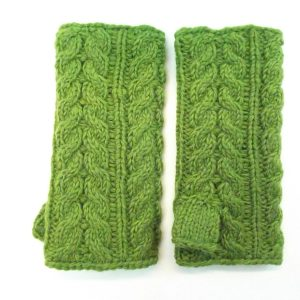 Aran Cable Handwarmer Dark Green