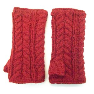 Aran Cable Handwarmer Red