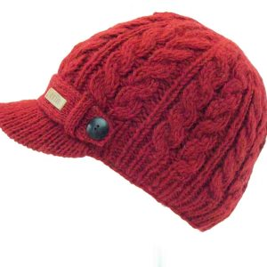 Aran Cable Peak Hat Red