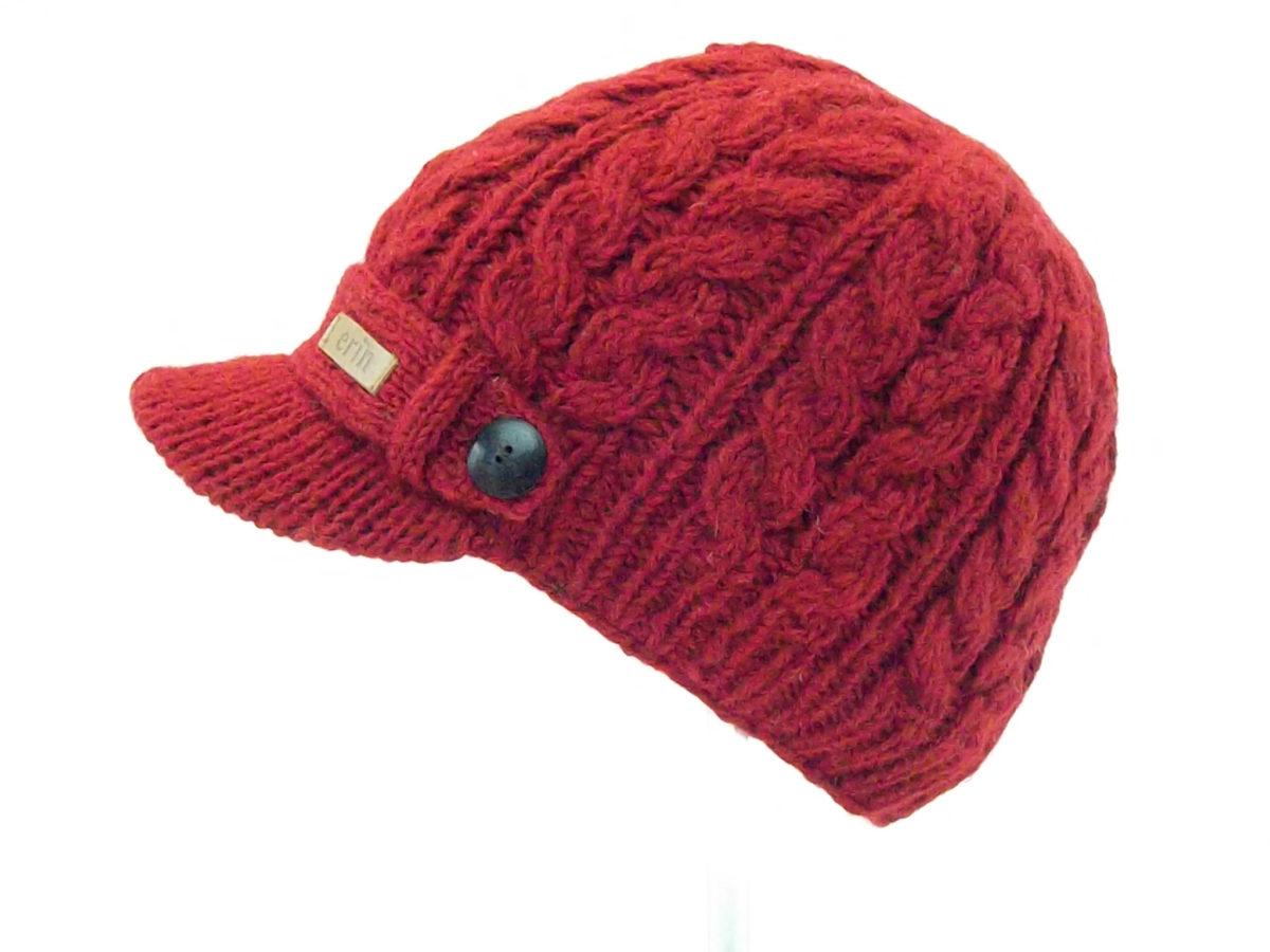 11091da28c1 Home   Aran Knitwear   Aran Accessories   Aran Cable Peak Hat Red