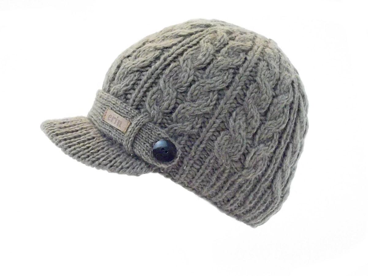 b5e1b66ba Aran Cable Peak Hat Taupe