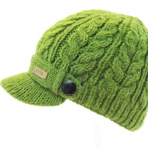 Aran Cable Peak Hat Dark Green
