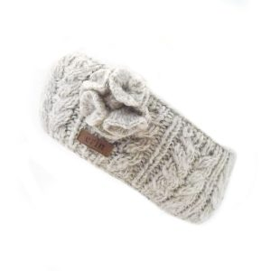 Aran Cable Knitted Wool Headband with Flower Oatmeal