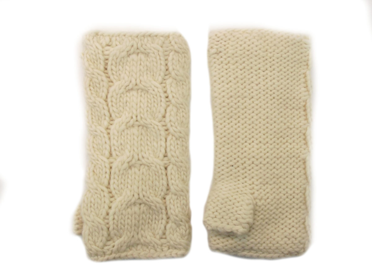 3daa18d6f29 Home   Aran Knitwear   Aran Accessories   Cable Handwarmer White