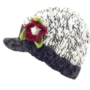 Uneven Wool Brooklyn Peak Hat with Flower Charcoal