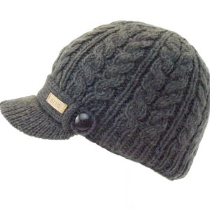 Aran Cable Peak Hat Charcoal