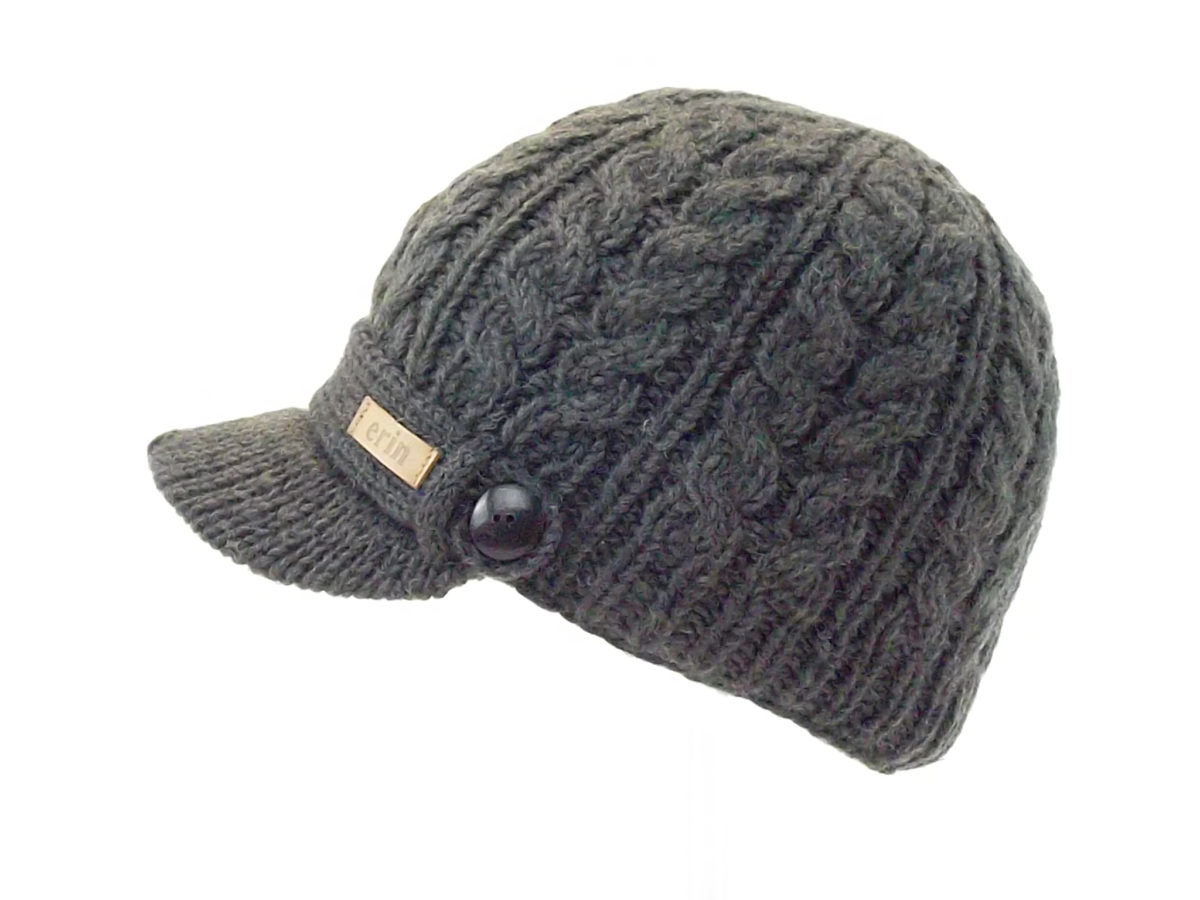 2d83e9170 Aran Cable Peak Hat Charcoal