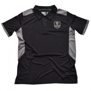 Black Guinness Polo Shirt With Grey Under Arm Design And Harp Crest