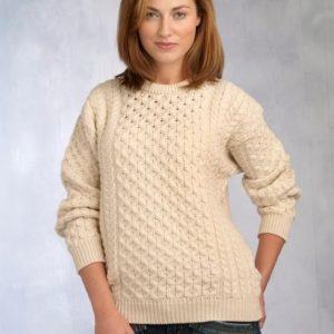 Unisex Merino Crew Neck Aran Sweater