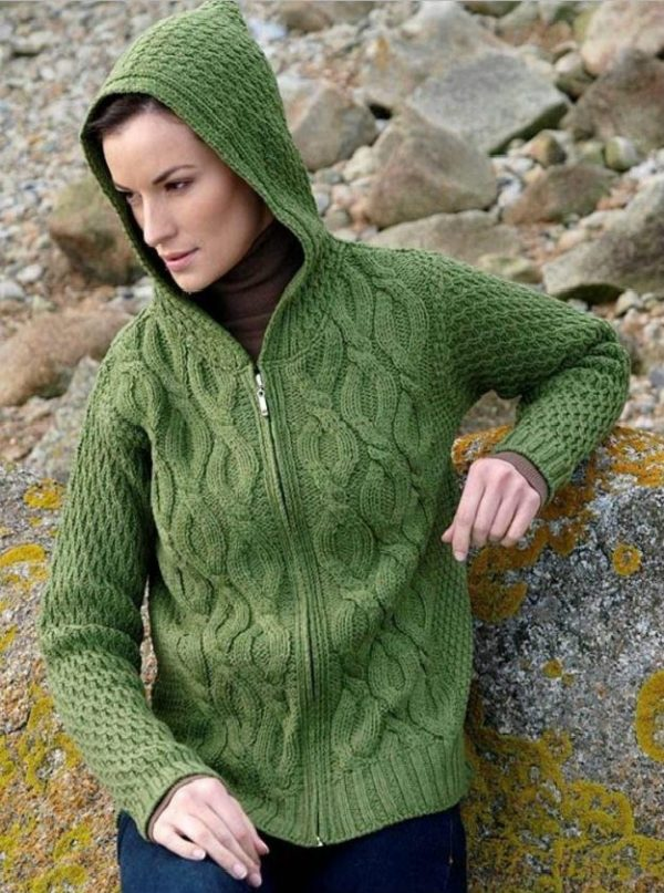 Chunky Cable Hooded Ladies Zipper