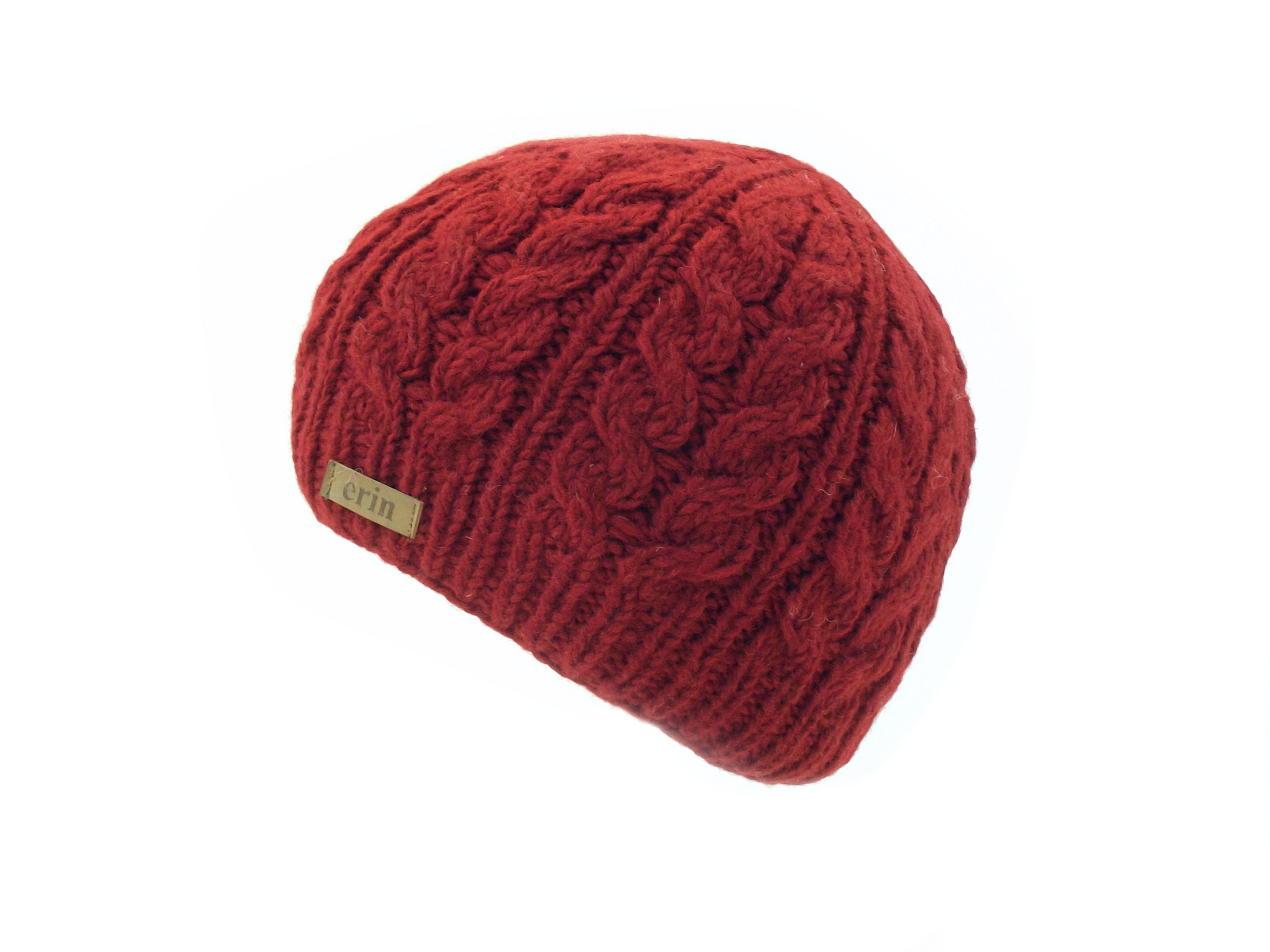 ca2250f48 Aran Cable Pullon Hat Red