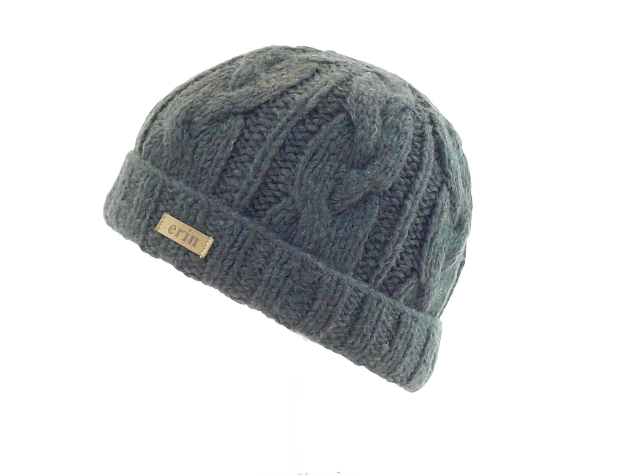 5d0510905 Aran Cable Turnup Hat Charcoal