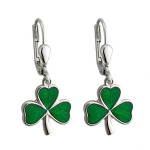 Enamel Shamrock Drop Earrings