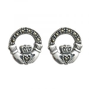 Marcasite Claddagh Stud Earrings