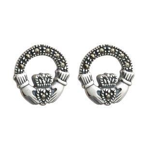 Marcasite Claddagh Stud Earrings