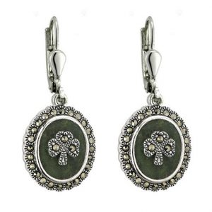 Connemara Marble and Marcasite Shamrock Earring