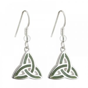 Silver and Connemara Marble Trinity Knot Earrings