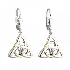 10K Gold Sterling Silver Diamond Trinity Irish Earrings