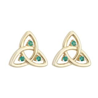 14K Gold Emerald Trinity Knot Stud Earrings