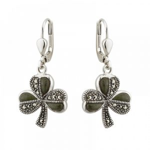 Marcasite with Connemara Marble Shamrock Drop Earrings