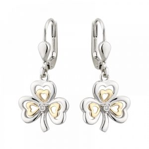 10K Gold Diamond and Sterling Silver Shamrock Earrings