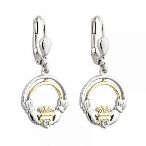 10K Gold Diamond and Sterling Silver Claddagh Earrings