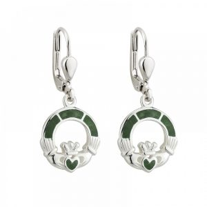 Connemara Marble Claddagh Drop Earrings