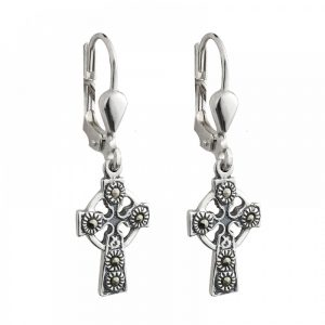 Marcasite Celtic Cross Drop Earrings