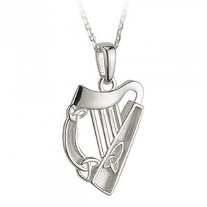 Solvar Silver Harp Pendant with Trinity Knot