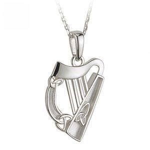 Solvar Silver Harp Pendant with Trinity Knot