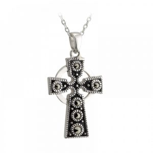 Sterling Silver Marcasite Celtic Cross Pendant