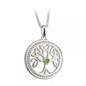 Silver Celtic Tree of Life Pendant with Green Stone