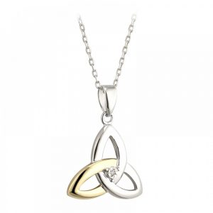 Sterling Silver and 10K Yellow Gold Diamond Trinity Knot Pendant