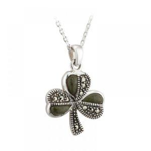 Marcasite with Connemara Marble Shamrock pendant