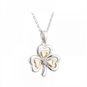 10K Gold Diamond and Sterling Silver Shamrock Necklace