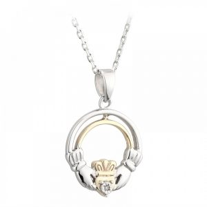 Sterling Silver and 10K Gold Diamond Claddagh Pendant