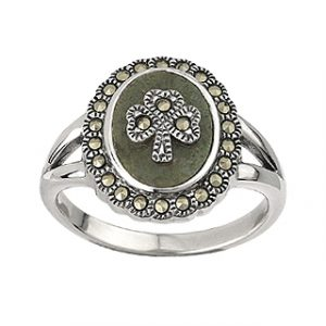 Connemara Marble and Marcasite Shamrock sterling silver Ring