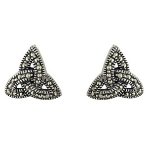 Sterling Silver Marcasite Trinity Knot Stud Earrings