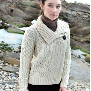 Ladies Aran One Button Merino Wool Cardigan