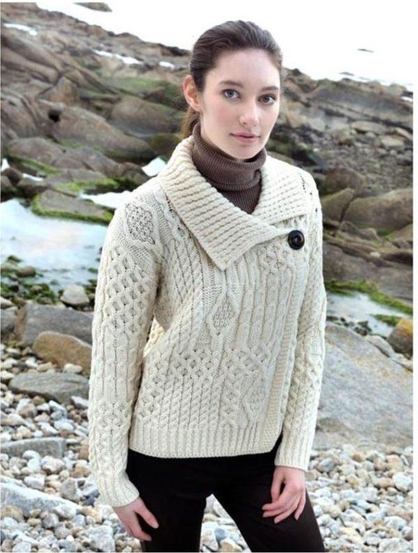 Ladies Aran One Button Merino Wool Cardigan