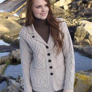 Revere Button Collared Ladies Cardigan