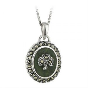 Connemara Marble and Marcasite Shamrock Pendant
