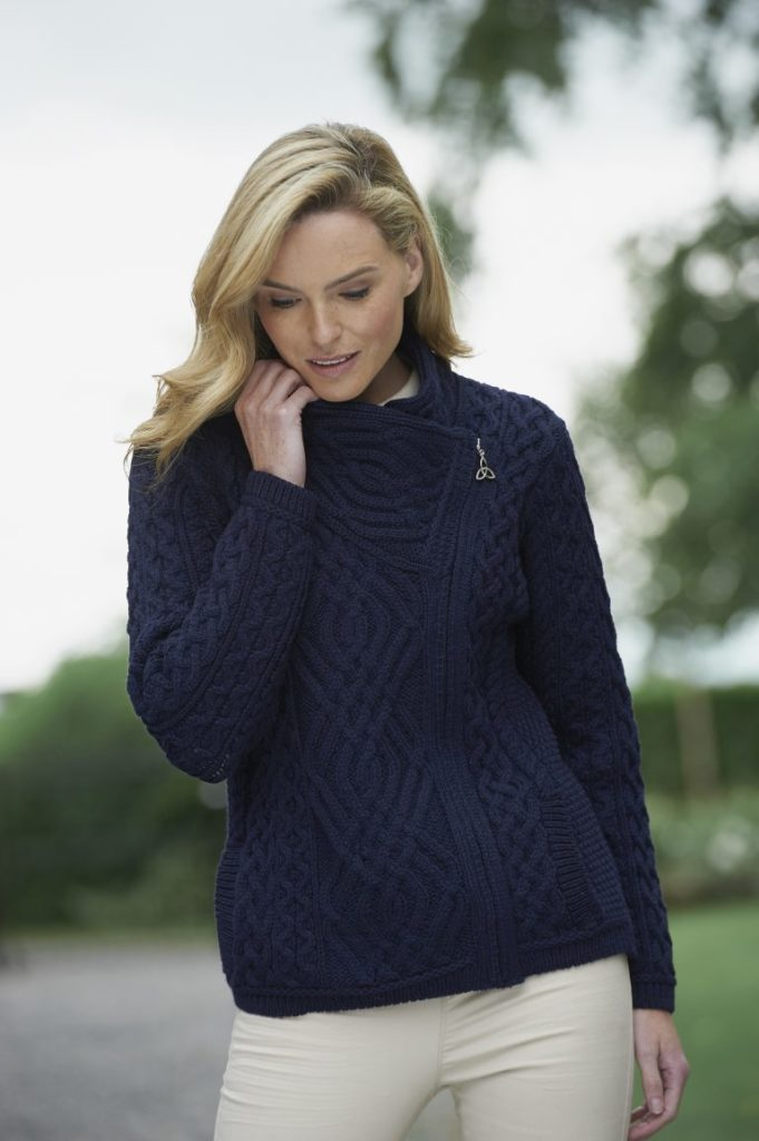 Ladies Aran Cardigan with Side Zip - Z4630