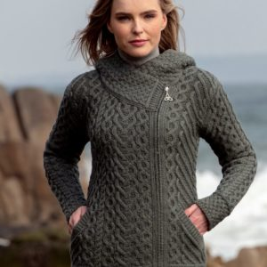 Aran Sweater with Hood by Erin Gift Store